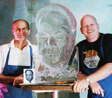 portrait ice carving